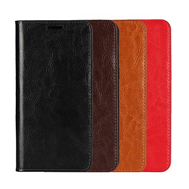Недорогие Чехлы и кейсы для Galaxy S6 Edge-Кейс для Назначение SSamsung Galaxy S9 / S9 Plus / S8 Plus Кошелек / Бумажник для карт / со стендом Чехол Однотонный Твердый Настоящая кожа