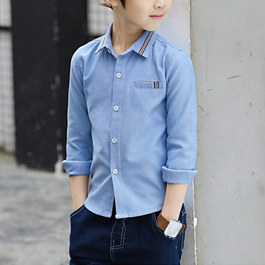 cheap Boys' Tops-Kids Boys' Active Street chic Daily Going out Striped Patchwork Print Long Sleeve Regular Shirt Blue