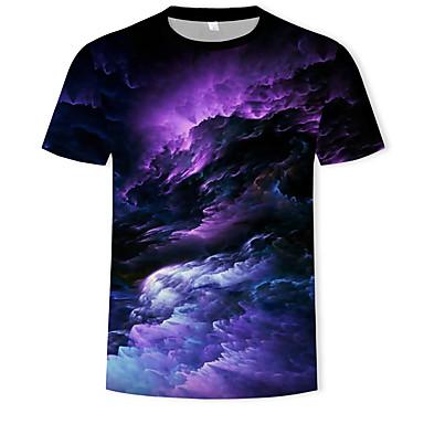 economico T-shirt e canotte da uomo-T-shirt Per uomo Essenziale / Boho Con stampe, Cielo stellato / 3D Rotonda Arcobaleno XXXXL / Manica corta