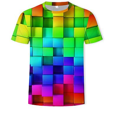 economico Abbigliamento uomo-T-shirt Per uomo Con stampe, Fantasia geometrica / 3D Rotonda Arcobaleno XXXXL / Manica corta