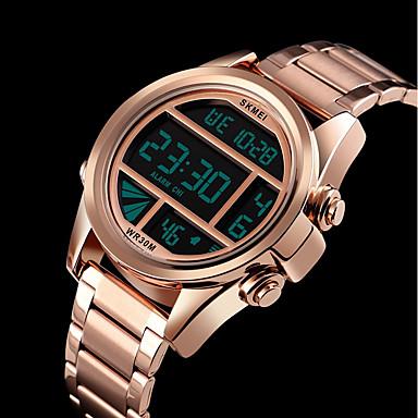 Недорогие Часы на металлическом ремешке-SKMEI Муж. Спортивные часы Цифровой Нержавеющая сталь Черный / Серебристый металл / Золотистый 30 m Защита от влаги Календарь Хронометр Цифровой На каждый день Мода - Серебряный Синий Розовое золото
