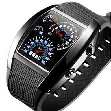 42b57005d رخيصةأون ساعات رقمية-رجالي ساعة رياضية رقمي سيليكون أسود / الأبيض / أزرق  مضيء ساعة