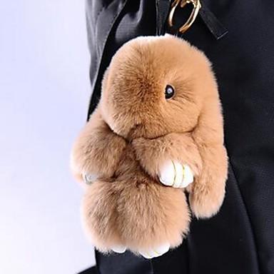 billige Damesmykker-Kanin Nøkkelring Gul Brun Pels Til