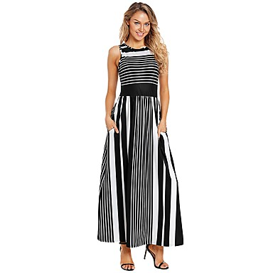cheap Women's Dresses-Women's Basic Shift Dress - Striped Black Red Yellow M L XL