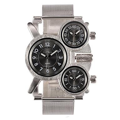 Недорогие Часы на металлическом ремешке-Муж. Армейские часы Кварцевый Нержавеющая сталь Серебристый металл С тремя часовыми поясами Ударопрочный Аналоговый Мода маскарадный Gunmetal Watch - Черный Коричневый Один год Срок службы батареи