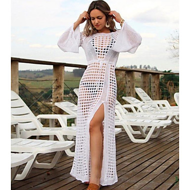 cheap Cover Ups-Women's White Black Cover-Up Swimwear - Solid Colored One-Size White
