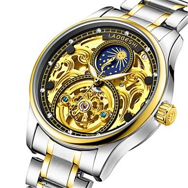 Ανδρικά μηχανικό ρολόι Αυτόματο κούρδισμα Ασημί Ανθεκτικό στο Νερό Νυχτερινή λάμψη Φάση Σελήνης Αναλογικό Πολυτέλεια Μοντέρνα - Λευκό Μαύρο Μπλε
