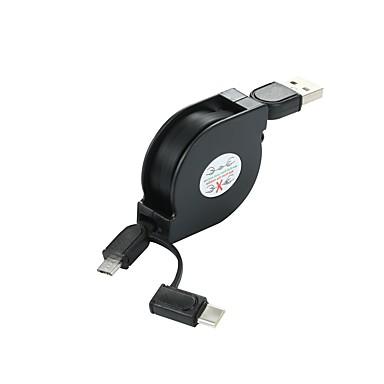 Недорогие Универсальные аксессуары для мобильных телефонов-Micro USB / Type-C Кабель <1m / 3ft Плоские / От 1 до 2 Пластик Адаптер USB-кабеля Назначение Samsung / Huawei / LG