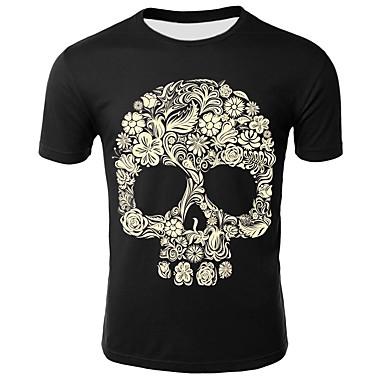 economico Abbigliamento uomo-T-shirt - Taglie forti Per uomo Con stampe, Fantasia geometrica / Animali / Teschi Rotonda - Cotone Nero XXL