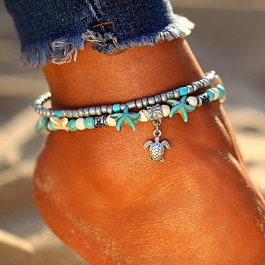 cheap Body Jewelry-Women's Turquoise Ankle Bracelet feet jewelry Layered Double Turtle Starfish Ladies Bohemian Ethnic Fashion Boho Anklet Jewelry Silver For Going out Beach Bikini