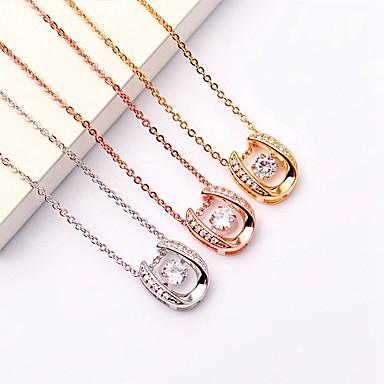 billige Mode Halskæde-Dame Kvadratisk Zirconium Halskædevedhæng Guld Sølv Rose Guld 40+5 cm Halskæder Smykker 1pc Til Daglig