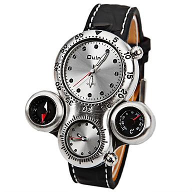 זול שעוני גברים-Oulm בגדי ריקוד גברים שעונים צבאיים קווארץ עור שחור / חום מדחום מצפן עמיד לזעזועים אנלוגי פאר אופנתי - לבן חום שנה אחת חיי סוללה