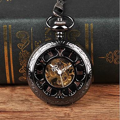 Χαμηλού Κόστους Ανδρικά ρολόγια-Ανδρικά Ρολόι Τσέπης Μηχανικό κούρδισμα Μαύρο Νεό Σχέδιο Καθημερινό Ρολόι Αναλογικό Βίντατζ Steampunk Σκελετός - Μαύρο