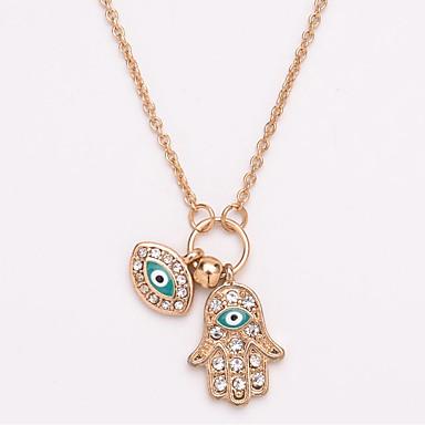 billige Mode Halskæde-Dame lang halskæde Simuleret diamant Øjne hænder Folk Style Guld Sølv 45+7 cm Halskæder Smykker 1pc Til Daglig