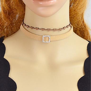 levne Módní náhrdelníky-Dámské tetování obojek Stohovatelné Kytky Moderní Kabel Kožené Světle hnědá 32.5 cm Náhrdelníky Šperky 4ks Pro Denní