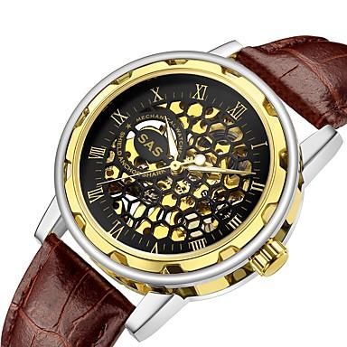 お買い得  メンズ腕時計-男性用 機械式時計 クォーツ レザー ウッド ブラック / ブラウン 30 m 透かし加工 耐衝撃性 ハンズ ぜいたく ファッション - シルバー ゴールド ゴールデン + ブラック 1年間 電池寿命