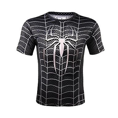economico Abbigliamento uomo-T-shirt Per uomo Con stampe, A strisce Rotonda - Cotone Nero XL / Taglia piccola