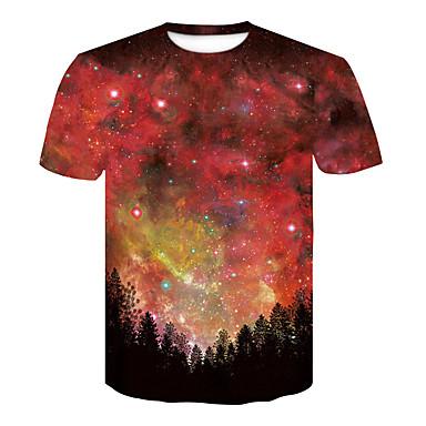 economico Abbigliamento uomo-T-shirt - Taglie UE / USA Per uomo Cielo stellato / 3D Rotonda Nero L