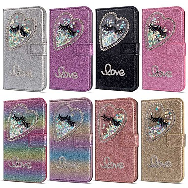voordelige iPhone 6 Plus hoesjes-hoesje voor apple iphone xr / iphone xs max flip / vloeiende vloeistof / strass full body cases glitter shine / hart hard pu leer voor iphone 5c / se / 5s / iphone 6s / 6s plus / 7/7 plus / x / xs / 8