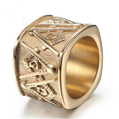 ราคาถูก แหวน-สำหรับผู้ชาย สไตล์วินเทจ สมาชิก แหวน Titanium Steel ความปิติยินดี Stylish แหวนแฟชั่น เครื่องประดับ สีทอง / สีทอง-ดำ สำหรับ ของขวัญ ทุกวัน 8 / 9 / 10 / 11 / 12