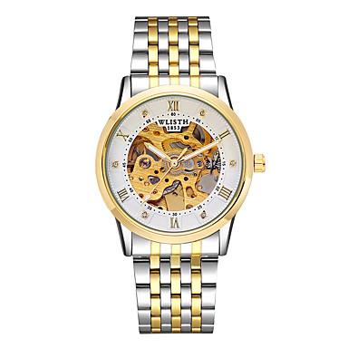 お買い得  メタルバンド腕時計-男性用 機械式時計 自動巻き ステンレス 白 / ゴールド 30 m 透かし加工 夜光計 ハンズ ヴィンテージ スケルトン - ゴールデン + ブラック ゴールデン + ホワイト 銀色 / ホワイト