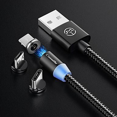 billiga Kablar och adaptrar-Typ-C Kabel 1,0 m (3 fot) Flätad / Magnet / LED Nylon USB-kabeladapter Till Macbook / Samsung / Huawei