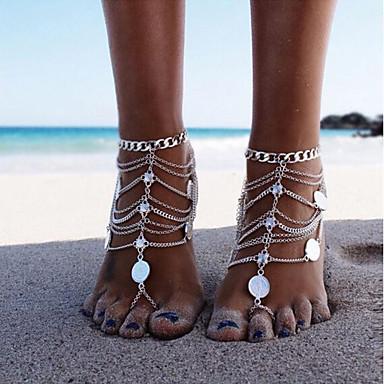 Damen Barfußsandalen Knöchel-Armband Münze Stilvoll Europäisch Ethnisch Heiße Ehefrau Fusskettchen Schmuck Silber Für Alltag