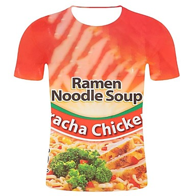 baratos Roupa de Homem Moderna-Homens Tamanhos Grandes Camiseta Moda de Rua / Exagerado Estampado, 3D / Gráfico Algodão Decote Redondo Vermelho XXL