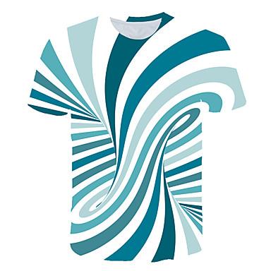 baratos Roupa de Homem Moderna-Homens Camiseta Estampado, Listrado / 3D Decote Redondo Laranja US40