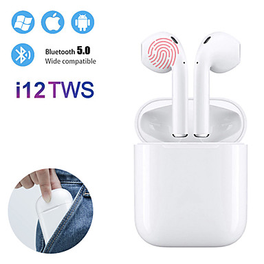 billige Hodetelefoner-i12 tws ekte trådløs Bluetooth 5.0 øretelefoner berøringsstyring øreplugger 3d surroundlyd