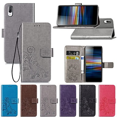 voordelige Hoesjes / covers voor Sony-hoesje Voor Sony Sony XA2 Plus / Sony Xperia L3 / Sony Xperia 10 Portemonnee / met standaard / Flip Volledig hoesje Effen / Vlinder / Bloem Hard PU-nahka