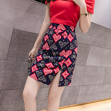 ieftine Pantaloni de Damă-Pentru femei Bodycon De Bază Fuste - Floral Roșu-aprins XXL XXXXL XXXXXL / Zvelt