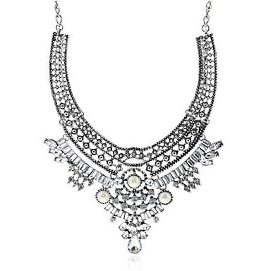 preiswerte Halsketten-Damen Kubikzirkonia Pendant Halskette Geometrisch Gesegnet Modisch Chrom Diamantimitate Silber 40 cm Modische Halsketten Schmuck 1pc Für Geschenk Alltag
