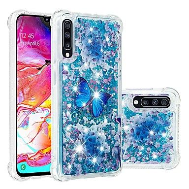 voordelige Galaxy A-serie hoesjes / covers-hoesje Voor Samsung Galaxy A6 (2018) / A6+ (2018) / Galaxy A7(2018) Schokbestendig / Stromende vloeistof / Transparant Achterkant Vlinder / Glitterglans Zacht TPU