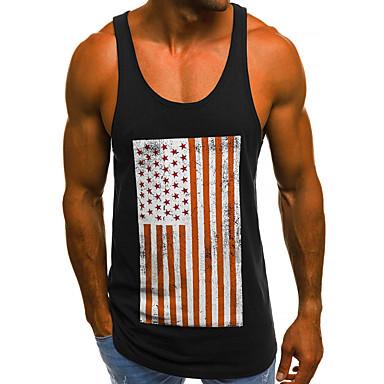 economico Abbigliamento uomo-Canotte Per uomo Essenziale / Moda città Con stampe, Pop art Rosso XL