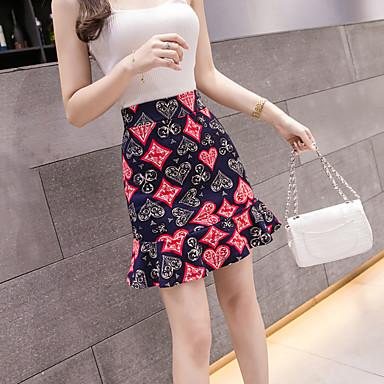 ieftine Pantaloni de Damă-Pentru femei Sirenă De Bază Fuste - Floral Bufantă Roșu-aprins XXL XXXXL XXXXXL / Zvelt