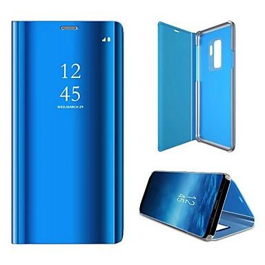 Недорогие Чехлы и кейсы для Galaxy S6 Edge-Кейс для Назначение SSamsung Galaxy S6 edge Защита от пыли / Зеркальная поверхность / Флип Чехол Однотонный Твердый Кожа PU / ПК