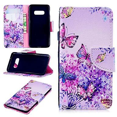 Недорогие Чехлы и кейсы для Galaxy S6 Edge-Кейс для Назначение SSamsung Galaxy S9 / S9 Plus / S8 Plus Кошелек / Бумажник для карт / Защита от удара Чехол Бабочка Твердый Кожа PU