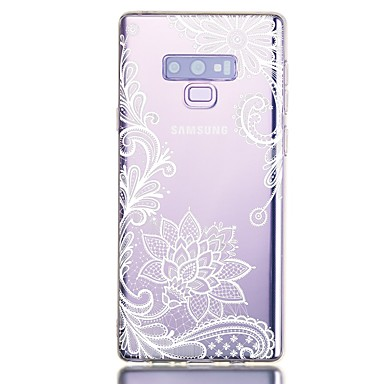 voordelige Galaxy Note-serie hoesjes / covers-hoesje Voor Samsung Galaxy Note 9 Schokbestendig / Transparant / Patroon Achterkant Bloem TPU