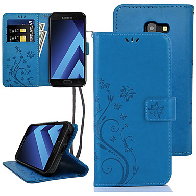 voordelige Galaxy A-serie hoesjes / covers-hoesje Voor Samsung Galaxy A5 Kaarthouder / Flip Volledig hoesje Bloem Hard PU-nahka
