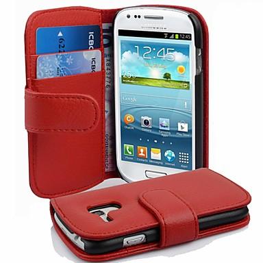 Недорогие Чехлы и кейсы для Galaxy S3 Mini-Кейс для Назначение SSamsung Galaxy S3 Mini Защита от удара Чехол Однотонный Твердый Кожа PU