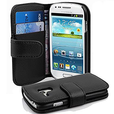 Недорогие Чехлы и кейсы для Galaxy S3 Mini-Кейс для Назначение SSamsung Galaxy S3 Mini Бумажник для карт / Флип Чехол Однотонный Твердый Кожа PU
