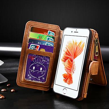 Недорогие Кейсы для iPhone-Кейс для Назначение Apple iPhone 8 / iPhone 7 Кошелек / Бумажник для карт / Флип Чехол Однотонный Кожа PU