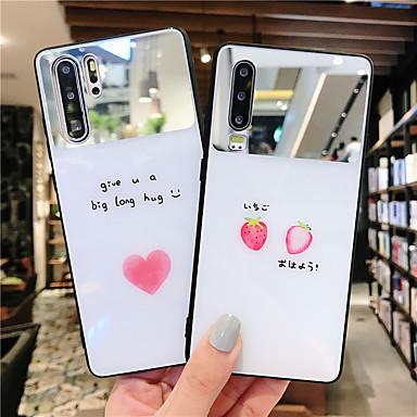 voordelige Huawei Mate hoesjes / covers-hoesje Voor Huawei Huawei Nova 4 / Huawei nova 4e / Huawei P20 Spiegel / Ultradun / Patroon Achterkant Voedsel / Woord / tekst / Hart TPU / PC
