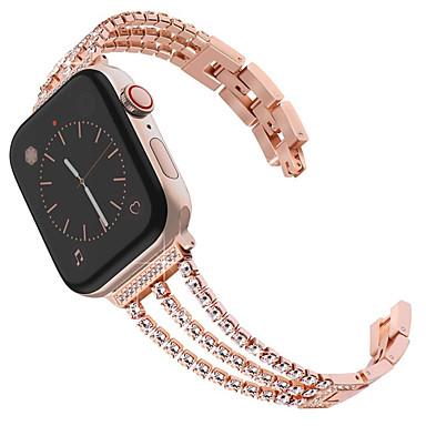 Недорогие Ремешки для Apple Watch-Новый женский алмазный ремешок для часов Apple Watch 40mm / 44mm / 38mm / 42mm iwatch серии 4 3 2 1 ремешок из нержавеющей стали спортивный браслет