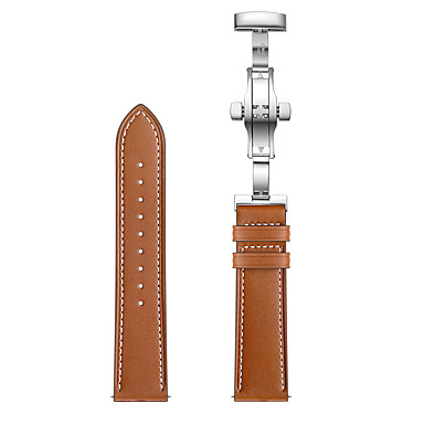 voordelige Horlogebandjes voor Samsung-horlogeband voor Samsung Galaxy Gear sport zilveren vlindergesp 20 mm lederen band