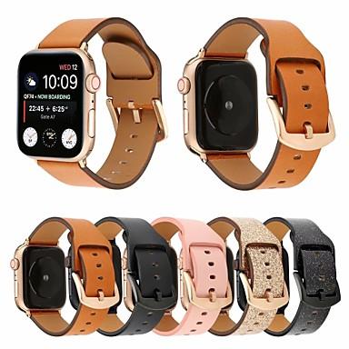 billige Apple Watch urremme-44mm / 42mm / 40mm / 38mm mat kalv ægte læderrem armbånd med sikkert spænde i spænde, der er kompatibel til apple watch-serien