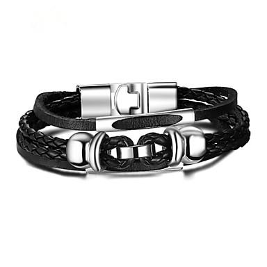 voordelige Heren Armband-Heren Lederen armbanden Gevlochten Bloem Vintage PU Armband sieraden Zwart Voor Dagelijks