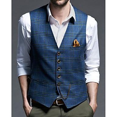 cheap Pre Sale-Men's Vest, Striped V Neck Polyester Blue