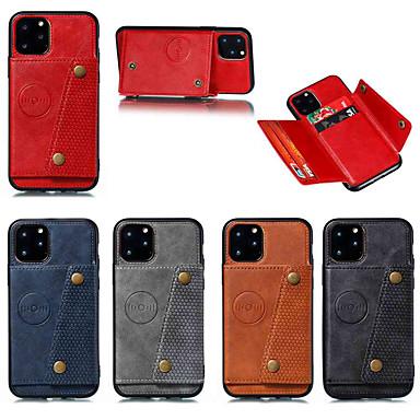 voordelige iPhone-hoesjes-hoesje voor Apple iPhone 11 / iPhone 11 pro / iPhone 11 pro max kaarthouder / met standaard achtercover effen kleur leer dubbele knop pu leer voor iphone x / xs / xr / xs max / 8 plus / 6s plus